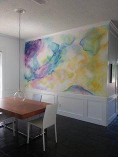 parede aquarela; ideia de parede diferente; pintura; pintura na parede; parede de quarto diferente; joinville; decoração em joinville; interiores joinville