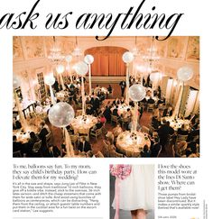 Large balloons with tulle and ribbons from Brides December 2013