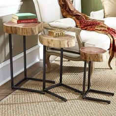 Nature's Nesting Tables  great contrast in furniture styles