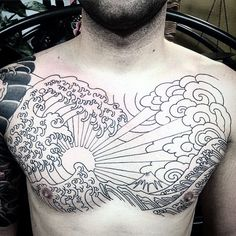 60 Rising Sun tattoo designs for men - Japanese ink ideas - ink tattoo rising japanese ideas designs - Japanese Cloud Tattoo, Japanese Wave Tattoos, Japanese Tattoo Designs, Japanese Sleeve Tattoos, Japanese Waves, Cloud Tattoo Design, Sun Tattoo Designs, Japan Tattoo, Trendy Tattoos