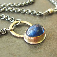 Cobalt Blue Sapphire Gold and Silver Necklace by LilianGinebra, $185.00