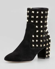 Rockstud Suede Ankle Boot by Valentino at Neiman Marcus.