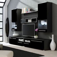 Jorah entertainment center for tvs up to 75 products home improvement winsome color black gloss remarkable Furniture, Home, Modern Tv Wall Units, Tv Wall Design, Entertainment Center, Tv Unit Furniture Design, House Interior, Tv Room Design, Living Room Tv