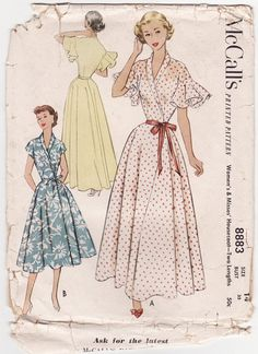 Vintage 1950s Sewing Pattern  Frilly Housecoat by FriskyScissors, $35.00