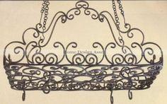 Amazon.com: Posh Ornate French SCROLL Iron POT RACK Pan Hanging ...