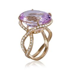 18K Rose Gold, Kunzite & Diamond Ring