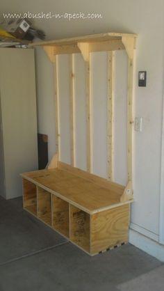 Diy Entryway Bench With Shoe Storage DIY Storage Bench Ideas Guide Patterns. Home Design Ideas Garage Storage, Diy Storage, Storage Ideas, Hallway Storage, Shelf Ideas, Wall Storage, Basement Storage, Entryway Closet, Storage Baskets