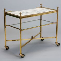 Italian Brass and Marble Trolley Table with Pineapple Finials image 2