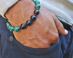 Men's Bracelet with Black Carved Quartzite Baked by tocijewelry