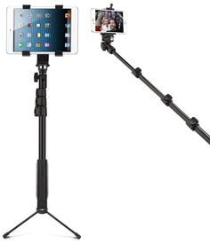 All In One multi functional Selfie Pod Tripod!!! Product includes: 4 Section- extendable/retractable- solid adjustable pole- which ranges from 18″ when closed up to 52″ when fully extended Remote Bluetooth for easy picture taking-with holder for bluetooth designed right into handle Smart phone holder attachment- holds phone up to Iphone 6S+ size Tablet holder attachment- …