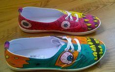 wunderschöne handbemalte Schuhe Sneakers Motiv  MONSTER  Gr. 38 - UNIKAT - NEU