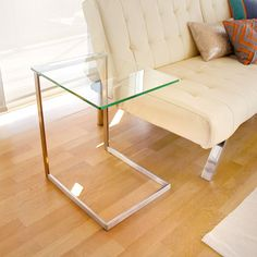 LumiSource Zenn Stainless Steel/ Glass End Table (Stainless Steel & Glass Zenn End Table), Silver