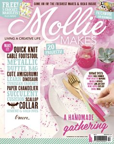 Your project templates for Mollie Makes issue 57 are ready to download. Includes: Skirt pocket sewing templates, concrete pot mould, patchwork purse piece, tote bag base, scallop collar template and succulent cushion design.
