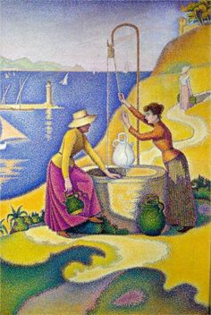 Paul Signac >>> Young Women of Provence at the Well (1892). Signac in full pointillist mode.