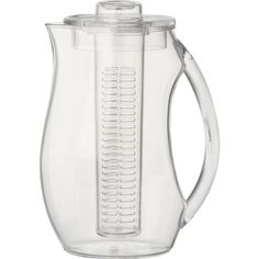 A freshly-brewed glass of iced tea is so satisfying! We love the idea of fruit-infused tea. If you prefer an alternative to glass, this acrylic infusion pitcher can be filled with fruits, herbs etc. Infusion Pitcher, Infused Water Bottle, Water Bottles, Drink Dispenser, Refreshing Drinks, Iced Tea, Serveware, Crate And Barrel, Crates