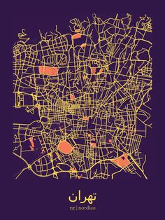 Tehran, Iran Map Print