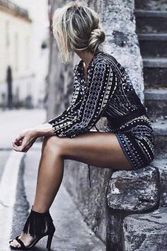 chic geometric print romper, lace up front romper, trendy stylish jumper with black heels - Crystalline