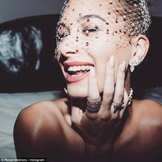 Diamond-y whites: Hailey Baldwin, 20, posted this behind-the-scenes snap of the tooth jewelry she wore to Monday night's Met Gala in New York City on her Instagram account Wednesday
