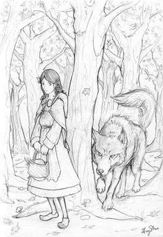 Red Riding Hood and Wolf by nemosapien.deviantart.com on @deviantART