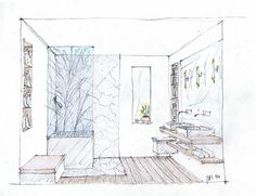 Study sketch of a small contemporary master bath. John Kelsey, Wilson Kelsey Design