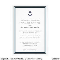 Elegant Modern Navy Anchor Minimalist Blue Invitation Nautical Wedding Invitations, Custom Invitations, Party Invitations, Destination Wedding, Wedding Day, Wedding Stationery Inspiration, Navy Anchor, Paper Design, Minimalist