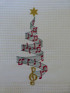 Machine Embroidery - This is a beautiful Music Christmas Tree on White Tea Towel