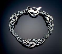 Julia Lowther, Jeweler - Byzantine Wave Bracelet with bat clasp, sterling silver