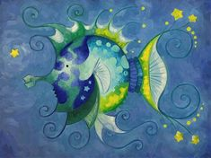 """Daily Paintworks - """"Blue Green Monochromatic Fish"""" - Original Fine Art for Sale - © Theresa Franke Fish Art, Fine Art Gallery, Art For Sale, Swirls, Wrapped Canvas, Oil On Canvas, Blue Green, Artwork, Fun"""