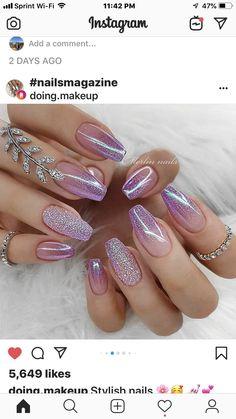 172 perfect summer nails art designs and ideas page 1 - Nail Art Sparkle Nails, Gold Nails, Glitter Nails, Cute Nails, Pretty Nails, My Nails, Beautiful Nail Art, Gorgeous Nails, Nagellack Design