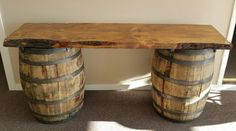Wine barrel table for cigar bar / will be tucked under the big tree with the twinkle lights