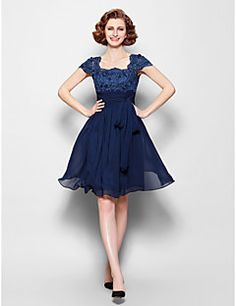 Mother of the Bride Dress Knee-length Short Sleeve Chiffon A... – USD $ 79.99
