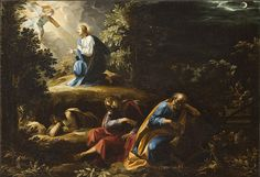The Agony in the Garden by Guiseppe Cesari ~ Jesus & consoling angel at Gethsemane ~ sleeping apostles Jesus And Mary Pictures, Bible Pictures, Rosary Mysteries, Jesus Christ Painting, Famous Bible Quotes, Agony In The Garden, Life Of Christ, Biblical Art, Jesus Lives