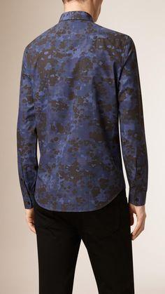 Camouflage Print Cotton Shirt Navy | Burberry