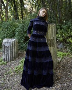 Costarellos Pre Fall - />Mock Neck Tiered Velvet Dress with Sleeves Modest Fashion, Hijab Fashion, Dress Pesta, Long Sleeve Gown, Dress Picture, Winter Dresses, All About Fashion, Beautiful Dresses, Ready To Wear