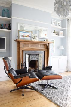 Edwardian Living Room With Fireplace and Eames Lounge Chair | Little House On The Corner