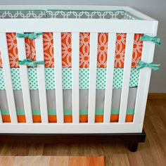 Mint, Orange, Gray Modern Baby Bedding, Circle Chain Link Nursery, Gender Neutral Baby Bedding, Mint and Orange Nursery on Etsy, $40.00