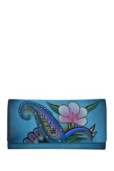Hand-Painted Trifold Multi-Pocket Wallet