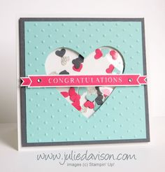 AW21: Stampin' Up! Occasions 4 You Wedding Shaker Card with Mini Hearts Border Punch #wedding #stampinup www.juliedavison.com