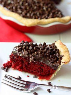 Red Velvet Fudge Pie #redvelvet #desserts