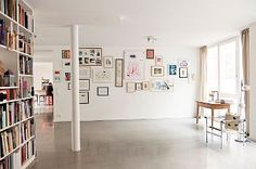 Christoph Niemann - Illustrator and Lisa Zeitz - Art Historian & Writer in their house - Berlin - Dec 2011 Berlin Apartment, Grands Salons, Illustrator, Sweet Home, Lisa, King Bedding Sets, Black Bedding, Concrete Floors, Interior Design Inspiration