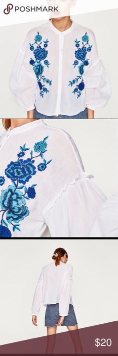 Zara Flower Embroidered Blouse Like new. No stains or holes.   🌻 feel free to make an offer 🌻 no trades 🌻 only poshmark Zara Tops Blouses