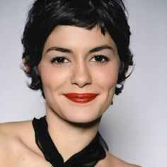 Short hair - I love the way the red lipstick takes the softness out of this look...