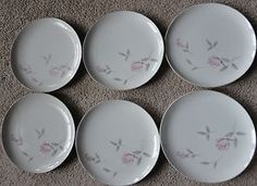 6 Argent Rose Plates Gambles Import Corp Japan Vintage China