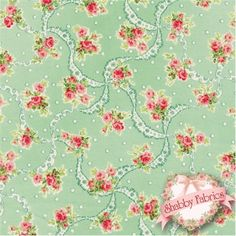 """Mary Rose Sweet Charms 2150-12D by Quilt Gate: Mary Rose is a time-tested group of fabrics by QuiltGate.  This fabric is from the Sweet Charms collection.  43""""/44"""" wide and 100% cotton.  Fabric features small roses, white dots, and lace on a green background."""