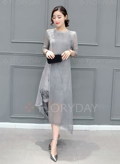 Silk Floral 1012544/1012544 Sleeves High Low Casual Dresses (1012544) @ floryday.com
