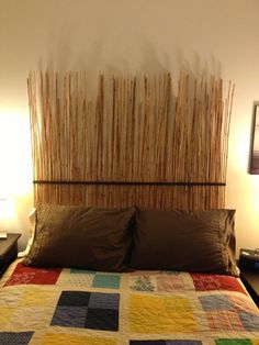 pictures of bamboo headboards | Homemade Bamboo Headboard | DIY