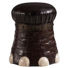 Henry Link Trading Co. Elephant Foot Stool {handcrafted from coconut bark with crystal stone toe claws/nails and a faux leather cushion}