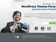 We're opening NEW Wordpress Themes Membership Club... Try it out and get 2 PSDs for FREE and join the competition for iPad mini and 10 yearly subscriptions. www.affinitytheme... JOIN WORDPRESS THEMES PARTY :) #wordpress #webdesign Wordpress Theme Design, Premium Wordpress Themes, All Themes, Party Themes, Professional Web Design, Family Boards, Social Media Site, Tool Design, Creative Design