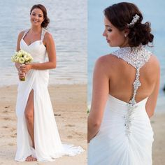 Summer Chiffon White Rhinestone Beach Wedding Dresses with Slit Beading Sexy 2015 Open Back Bridal Gowns A Line Vestido Casamento W3025 from Store005,$175.92 | DHgate.com