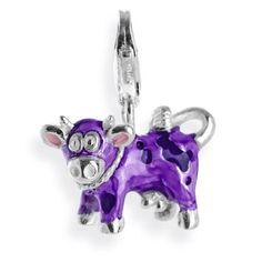 Animal Charm, Kuh aus Silber mit Brandlack & Karabiner.